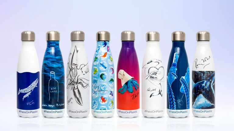 These reusable bottles are part of a limited-edition range of items from Sky Ocean Rescue