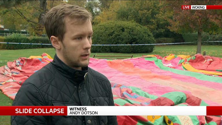 Witness talking about slide collapse in Woking park.