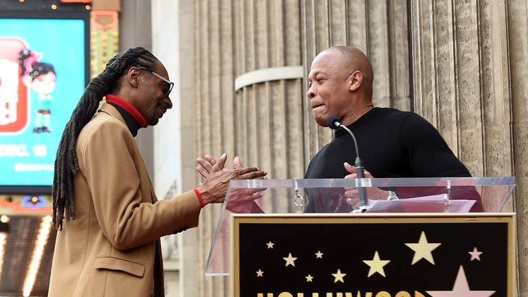 Dr Dre speaks at ceremony as Snoop Dogg is honoured with a star on The Hollywood Walk Of Fame