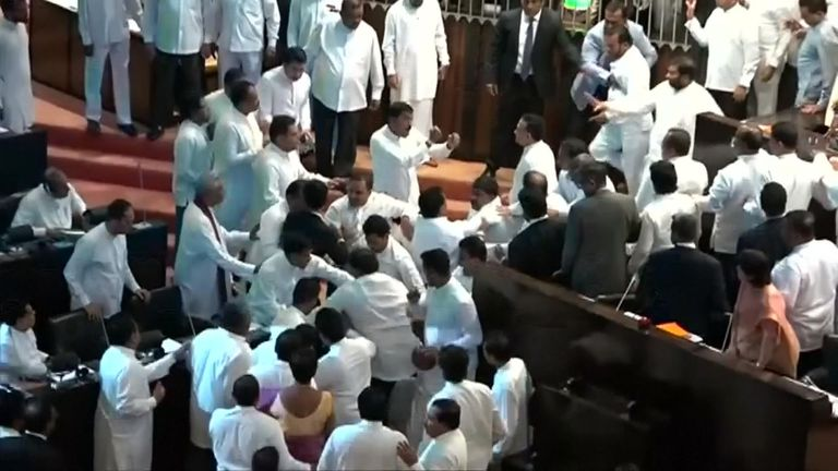 Sri Lanka MP's fight in Parliament as political turmoil continues.