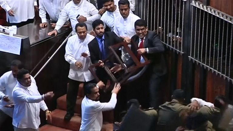 Fight in Sri Lankan parliament
