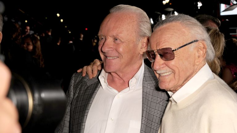 Stan Lee with Sir Anthony Hopkins in 2013