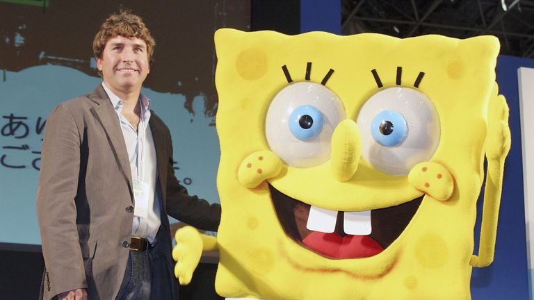 Stephen Hillenburg, the writer of a U.S. cartoon 'The SpongeBob SquarePants' poses with its charactor SpongeBob SquarePants at an event held at Tokyo International Anime Fair on March 23, 2006 in Tokyo, Japan. The film of this popular U.S. Cartoon will open on April 22 in Japan. (Photo by Junko Kimura/Getty Images)