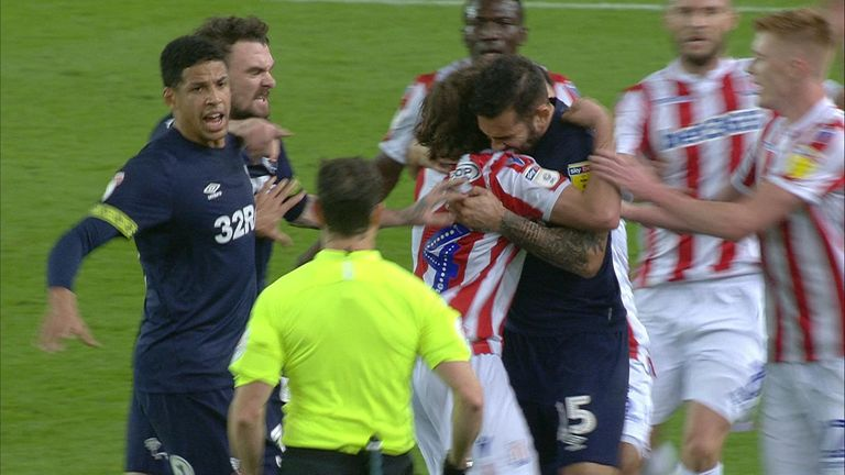 The moment many thought Johnson (R) bit Joe Allen. Pic: Sky Sports