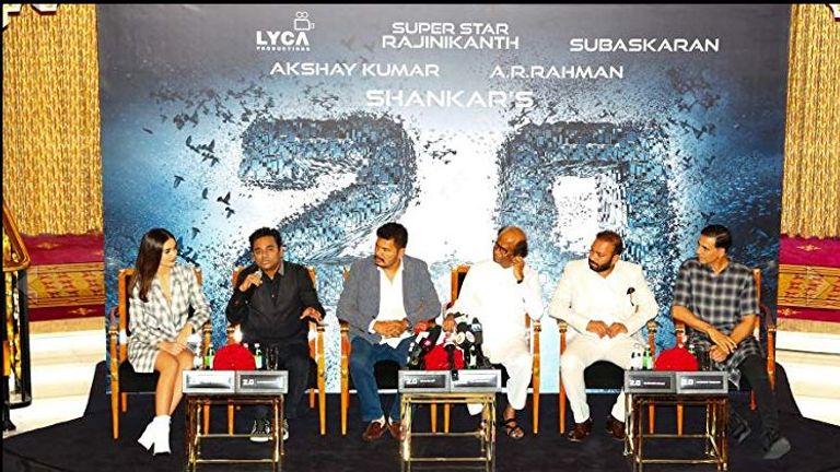 A Subaskaran, AR Rahman, Akshay Kumar, Rajinikanth, S Shankar and Amy Jackson at event for 2.0