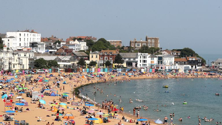 People on the beach in Broadstairs, Kent, as long as the hot weather is a & # 39; going across the country