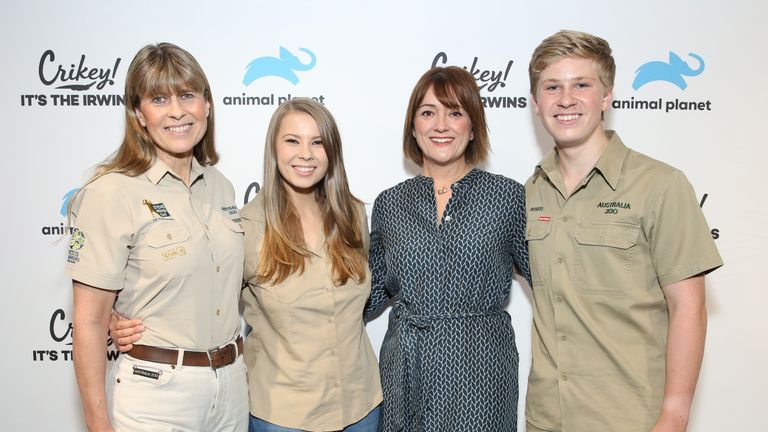 Susanna Dinnage with posing with the Irwin family in October ahead of a new series of Crikey, It's The Irwins