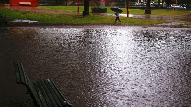 Heavy rainfall has flooded public parks in Sydney