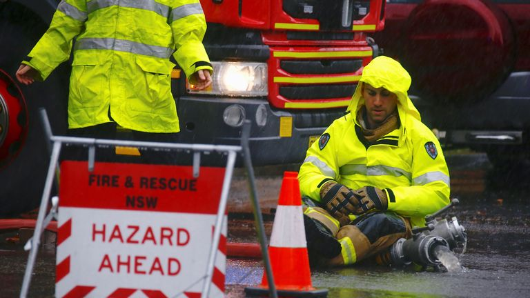 Firefighters have been pumping water out of flooded roads