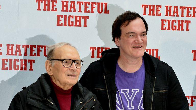 Italian composer Ennio Morricone with Quentin Tarantino in 2016
