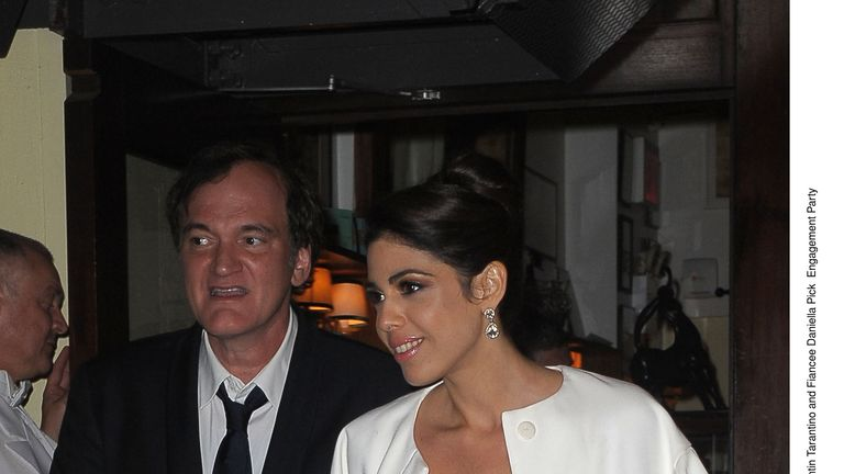 Quentin Tarantino and his fiancee Daniella Pick at their engagement party in 2017