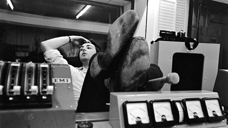Paul McCartney during a recording session for The Beatles. Abbey Road Studios, 1968. Pic: Apple Corps Ltd.