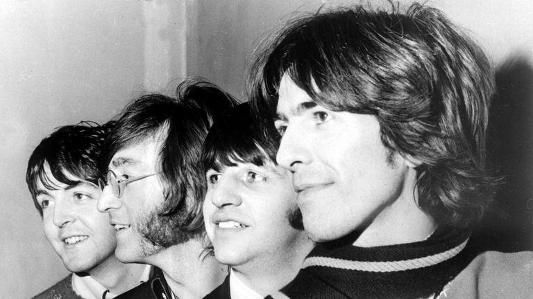 The Beatles - Paul McCartney, John Lennon, Ringo Starr and George Harrison - in 1968