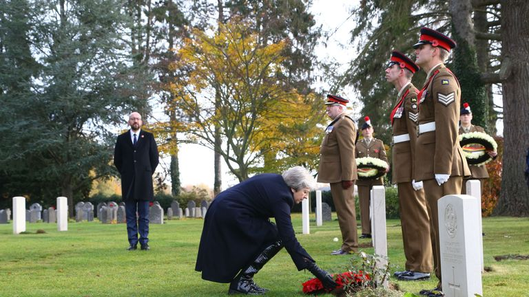 Theresa May at the St Symphorien Military Cemetery in Mons