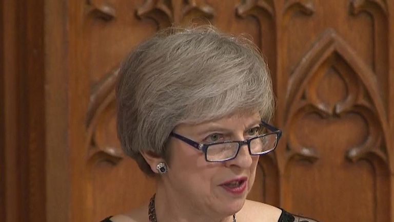 Theresa May delivers speech at the Lord Mayor's Banquet