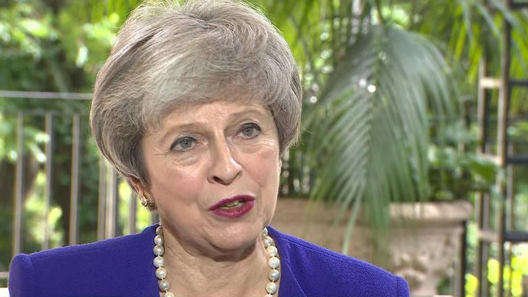 Theresa May speaking to Sky News at the G20 summit in Argentina