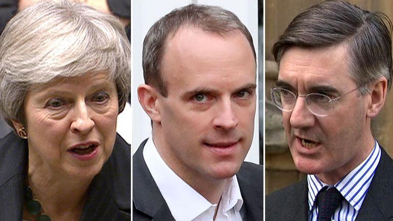 Theresa May, Dominica Raab, Jacob Rees-Mogg