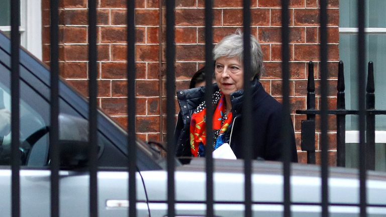 Theresa May leaves Downing Street
