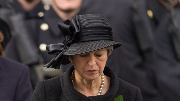 Mrs May, pictured at the 2017 Remembrance Sunday service in Whitehall, will lay a wreath alongside a German leader