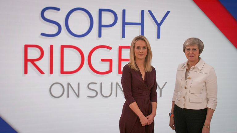 Theresa May poses with Sophy Ridge on the Sky News set