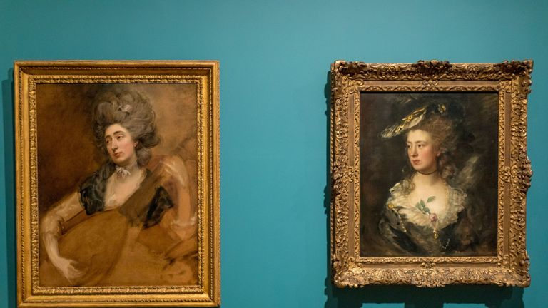 Rediscovered portrait by Thomas Gainsborough of his daughter Margaret playing a cittern (left), to be exhibited at the National Portrait Gallery