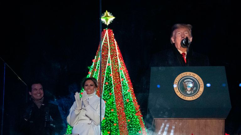 Donald Trump and First Lady Melania Trump attend the lighting of the National Christmas Tree in Washington