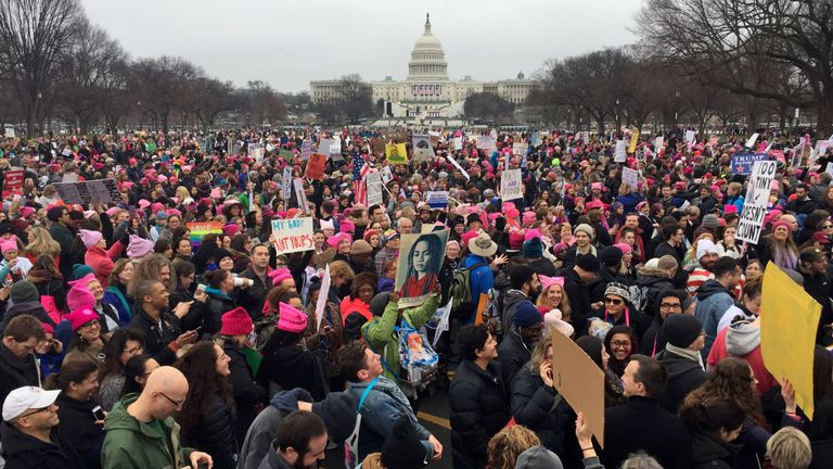 Demonstrators take part in the Women's March on 21 January, 2017