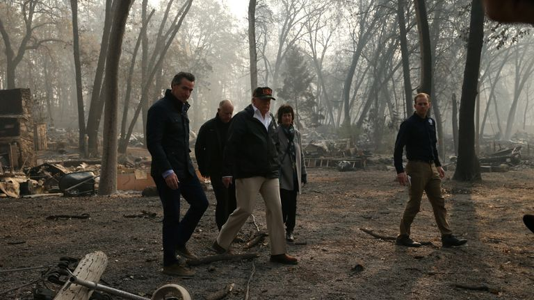 President Donald Trump visits Northern California whether wildfires broke out