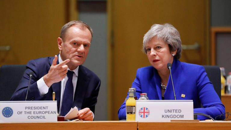 Prime Minister Theresa May and European Union Council President Donald Tusk