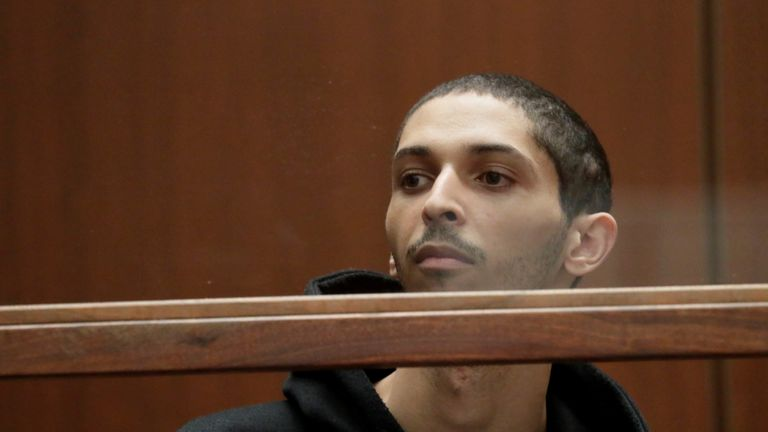 Tyler Barriss, 25, appears in court for his extradition hearing in Los Angeles