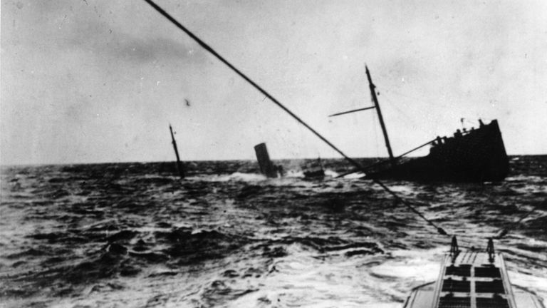 A u-boat surfaces after torpedoing a British merchant ship in 1916