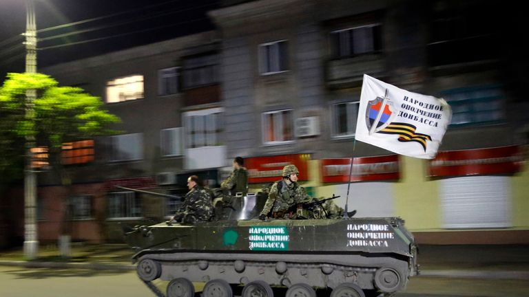 An armoured fighting vehicle with pro-Russian rebels in the Ukrainian city of Slaviansk in 2014