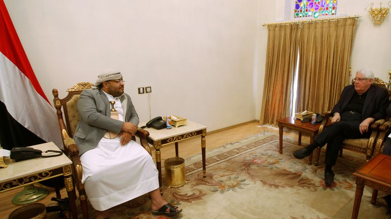 UN envoy to Yemen Martin Griffiths met Mohamed Ali al-Houthi, head of the Houthi rebels on 24 November