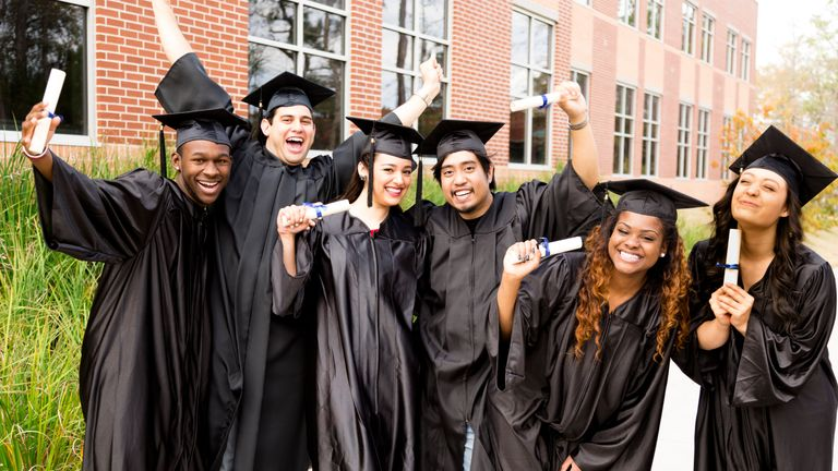 A group of students graduating from university