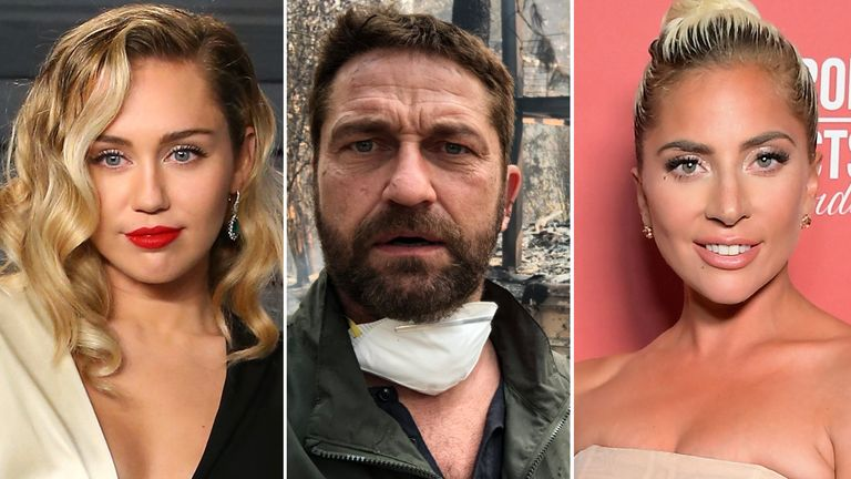 Miley Cyrus, Gerard butler and Lady Gaga