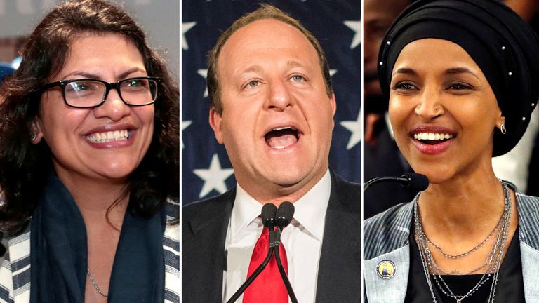 Rashida Tlaib, Jared Polis and Ilhan Omar