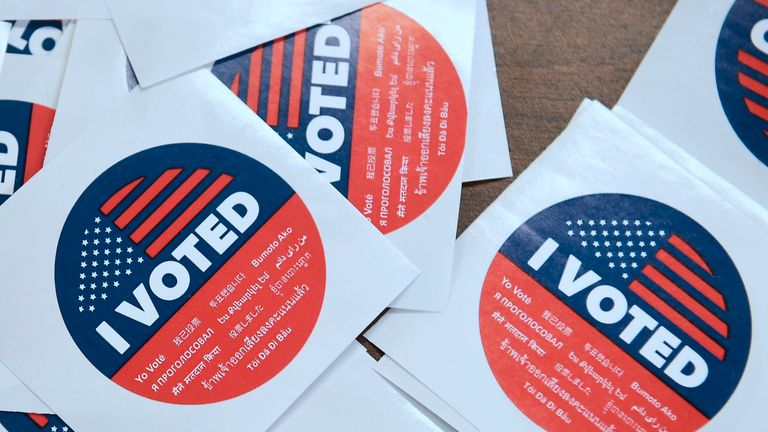 Stickers for early voters at a registrar's office in California