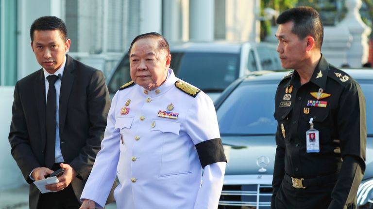 Thailand's Deputy PM Prawit Wongsuwan arrives for a funeral of Vichai Srivaddhanaprabha
