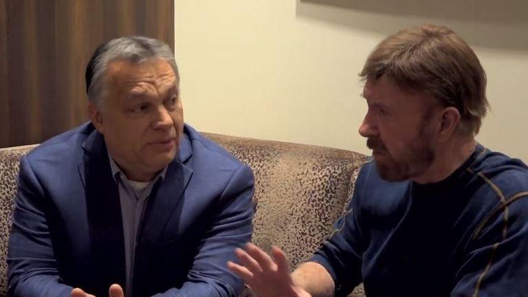 Viktor Orban, left, and Chuck Norris recently spent a day together. Credit: @orbanviktor