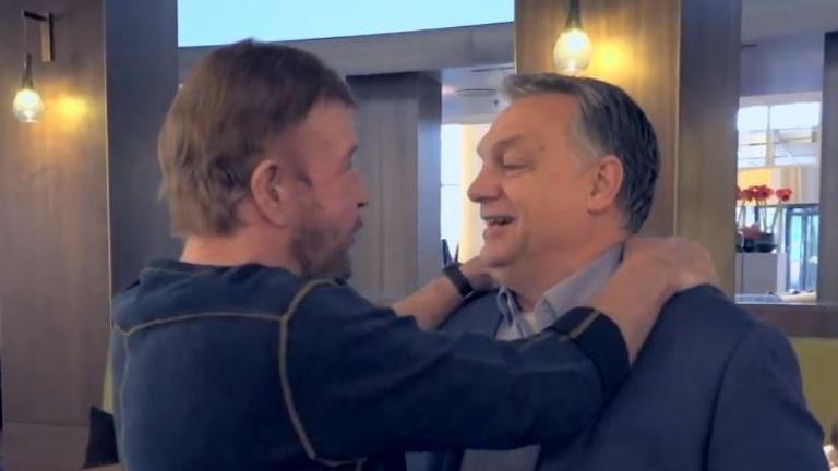 Chuck Norris, left, and Viktor Orban shared a hug. Credit: @orbanviktor