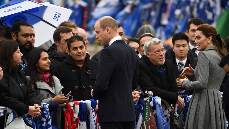The royals spoke to fans outside the King Power Stadium