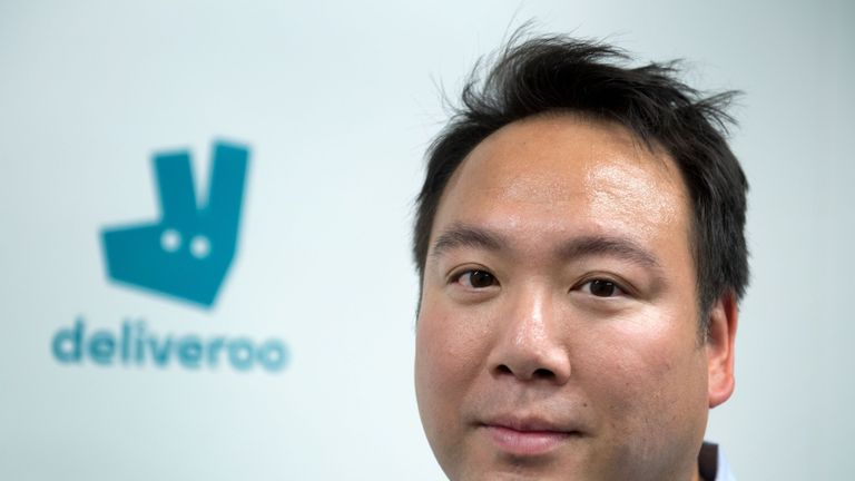 Co-founder and CEO of Deliveroo, William Shu, poses during the launch of first kitchen Deliveroo Editions in France, on July 3, 2018 in Saint-Ouen, outside Paris. (Photo by GERARD JULIEN / AFP) (Photo credit should read GERARD JULIEN/AFP/Getty Images)