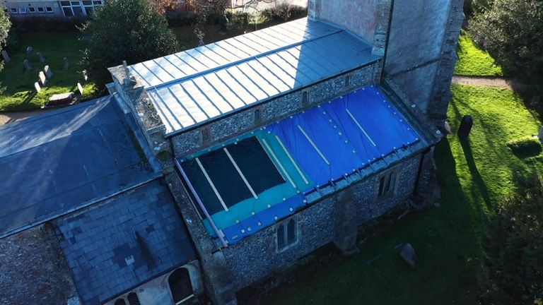 Lead was also stolen from the roof of St Nicholas' Church in Baydon