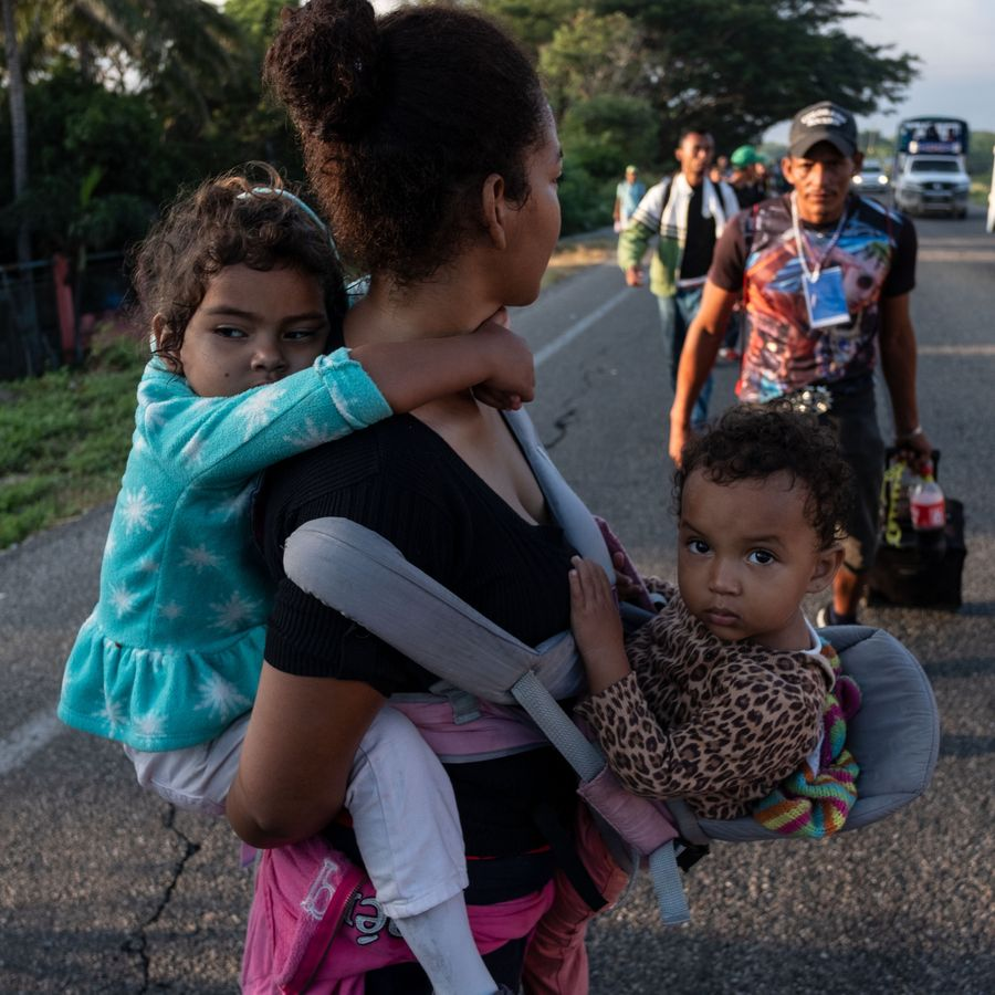 A family in the migrant caravan on its way to the US