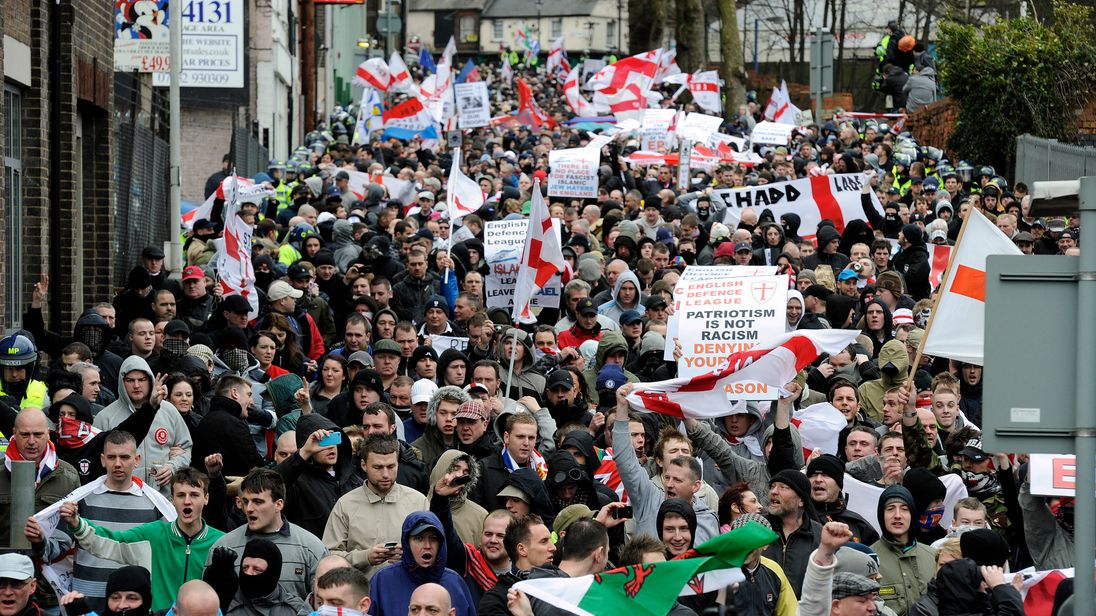 Supporters of far-right group EDL march. File pic