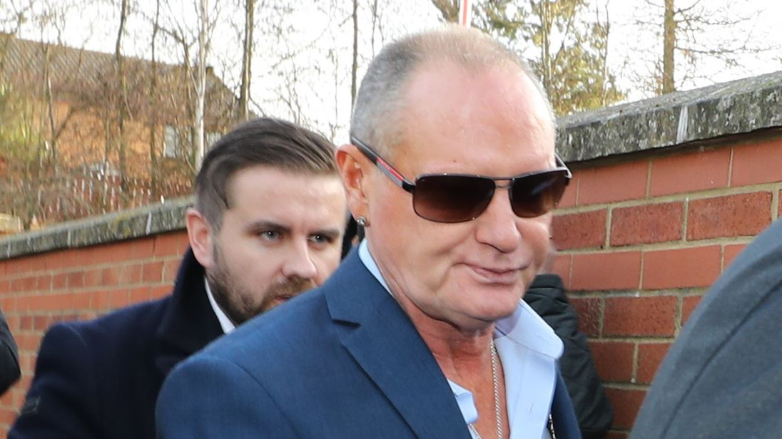 Paul Gascoigne arrives at Peterlee Magistrates' Court for the hearing
