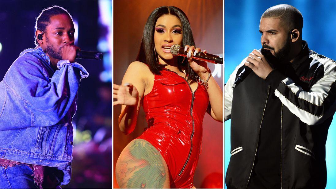 Kendrick Lamar, Cardi B and Drake