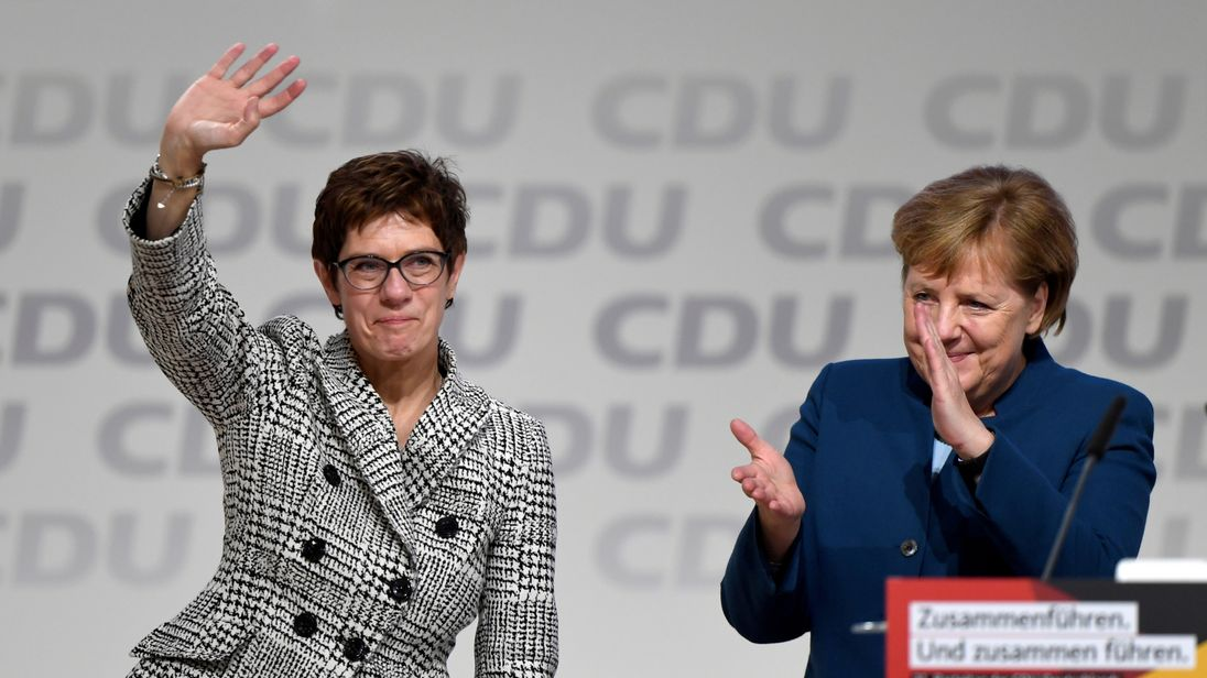 Kramp-Karrenbauer wins first round vote to replace Merkel as CDU leader