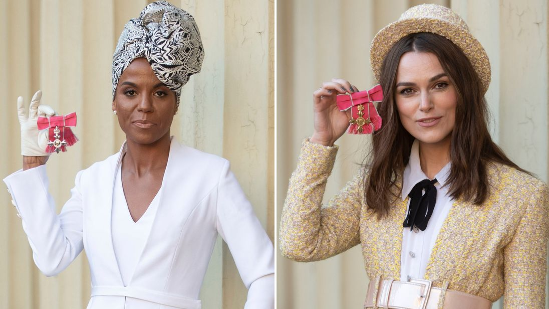 Niomi Daley, better known as Miss Dynamite with her MBE and Keira Knightley with her OBE