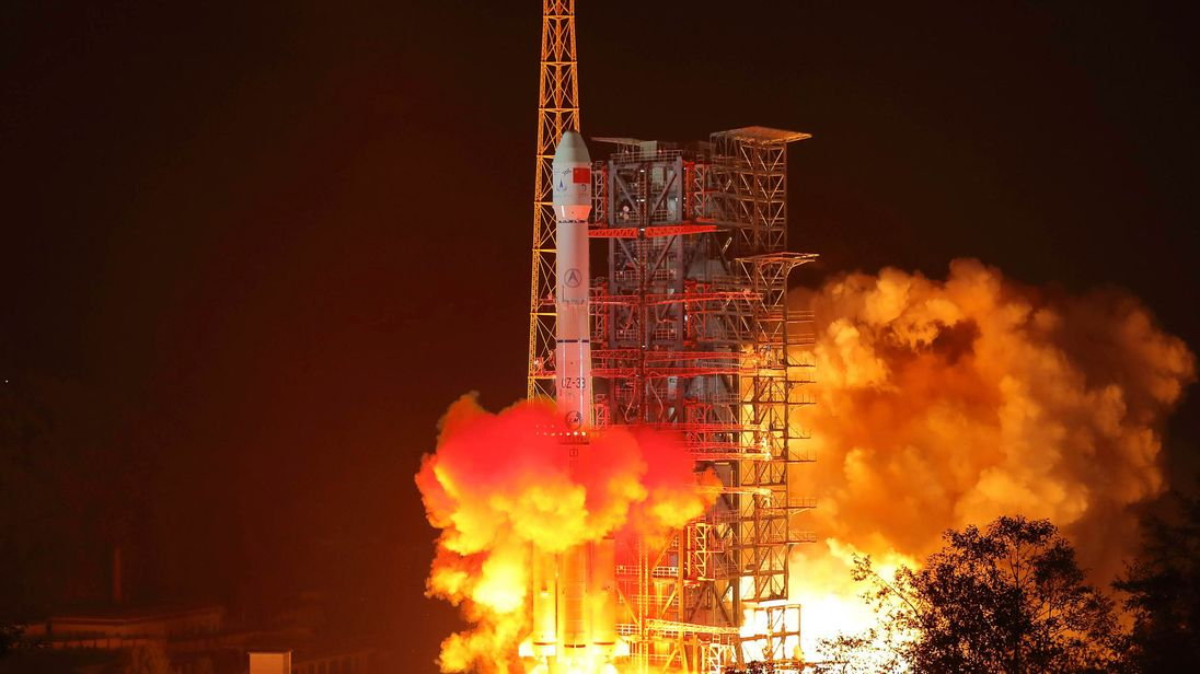 Chang'e-4 lunar probe launches from the the Xichang Satellite Launch Centre